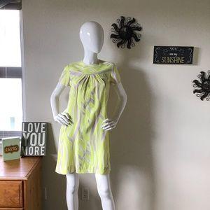 Vintage Yellow & Lavender Shift Dress Small